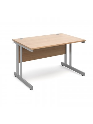 Momento straight desk 1200mm x 800mm - silver cantilever frame, beech top