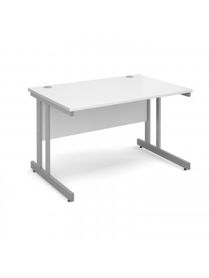 Momento straight desk 1200mm x 800mm - silver cantilever frame, white top