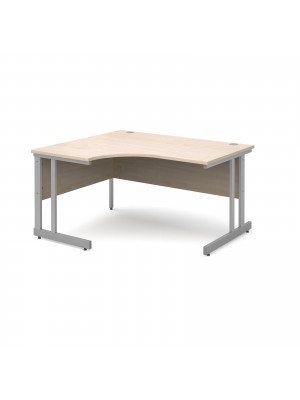 Momento left hand ergonomic desk 1400mm - silver cantilever frame, maple top