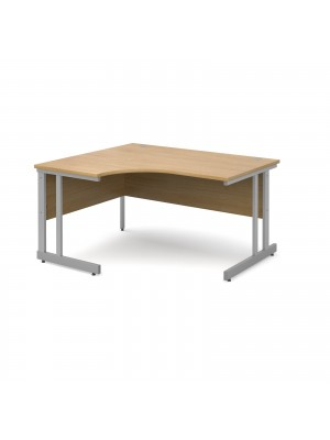 Momento left hand ergonomic desk 1400mm - silver cantilever frame, oak top