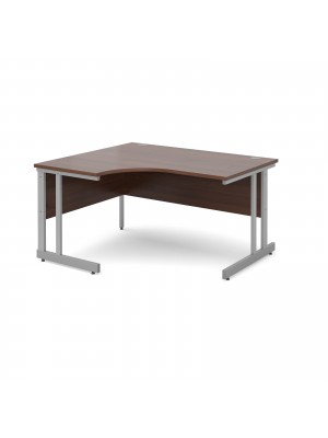 Momento left hand ergonomic desk 1400mm - silver cantilever frame, walnut top