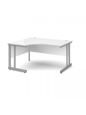 Momento left hand ergonomic desk 1400mm - silver cantilever frame, white top