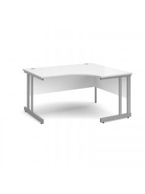 Momento right hand ergonomic desk 1400mm - silver cantilever frame, white top