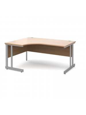 Momento left hand ergonomic desk 1600mm - silver cantilever frame, beech top