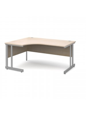 Momento left hand ergonomic desk 1600mm - silver cantilever frame, maple top
