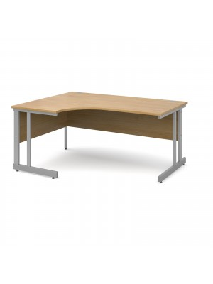 Momento left hand ergonomic desk 1600mm - silver cantilever frame, oak top