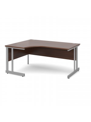 Momento left hand ergonomic desk 1600mm - silver cantilever frame, walnut top