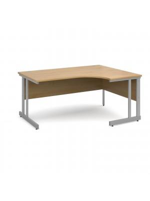 Momento right hand ergonomic desk 1600mm - silver cantilever frame, oak top