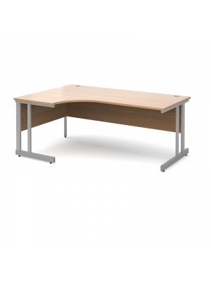 Momento left hand ergonomic desk 1800mm - silver cantilever frame, beech top