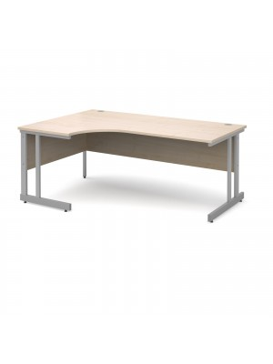 Momento left hand ergonomic desk 1800mm - silver cantilever frame, maple top