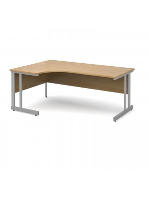 Momento left hand ergonomic desk 1800mm - silver cantilever frame, oak top
