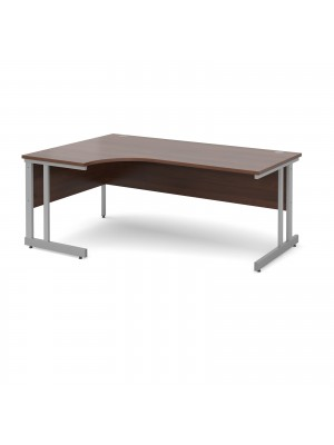 Momento left hand ergonomic desk 1800mm - silver cantilever frame, walnut top