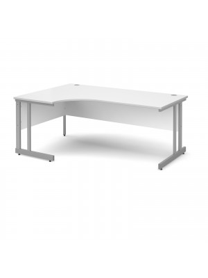 Momento left hand ergonomic desk 1800mm - silver cantilever frame, white top
