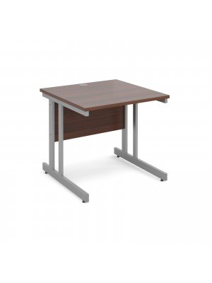Momento straight desk 800mm x 800mm - silver cantilever frame, walnut top