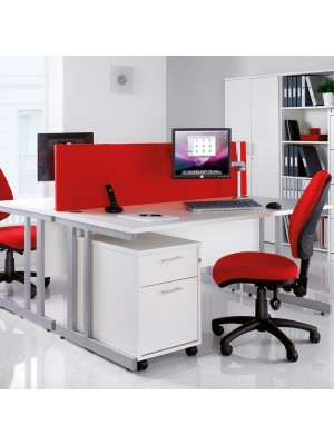 Momento left hand ergonomic desk 1400mm - silver cantilever frame, beech top