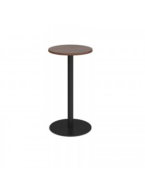 Monza circular poseur table with flat round black base 600mm - walnut