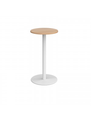 Monza circular poseur table with flat round white base 600mm - beech