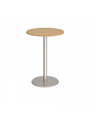 Monza circular poseur table with flat round brushed steel base 800mm - oak