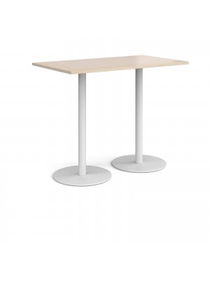Monza rectangular poseur table with flat round white bases 1400mm x 800mm - maple