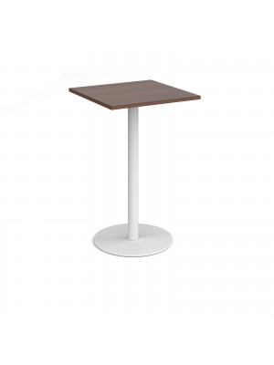 Monza square poseur table with flat round white base 700mm - walnut