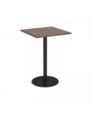 Monza square poseur table with flat round black base 800mm - walnut