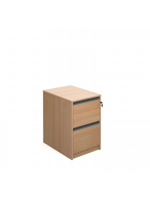 Filing cabinet with 2 drawers and graphite finger pull handles 723mm high - beech