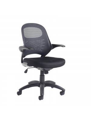 Orion Low back mesh chair with adjustable arms, Black mesh back with upholstered seat