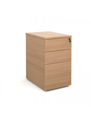 Deluxe desk high 3 drawer pedestal 600mm deep - beech