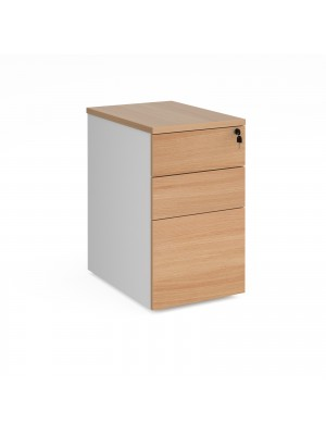 Deluxe desk high 3 drawer pedestal 600mm deep - white with beech drawers