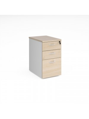 Deluxe desk high 3 drawer pedestal 600mm deep - white with maple drawers