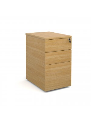 Deluxe desk high 3 drawer pedestal 600mm deep - oak