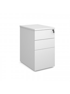 Deluxe desk high 3 drawer pedestal 600mm deep - white