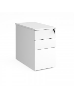 Deluxe desk high 3 drawer pedestal 800mm deep - white