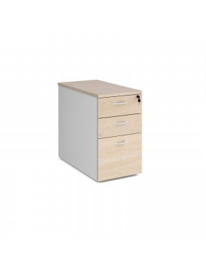 Deluxe desk high 3 drawer pedestal 800mm deep - white with maple drawers
