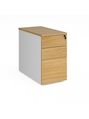 Deluxe desk high 3 drawer pedestal 800mm deep - white with oak drawers