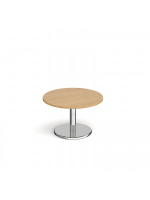 Pisa circular coffee table with round chrome base 800mm - oak