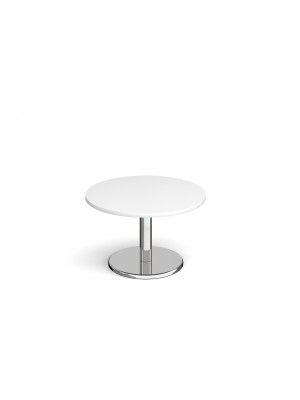 Pisa circular coffee table with round chrome base 800mm - white