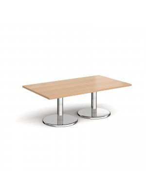 Pisa rectangular coffee table with round chrome bases 1400mm x 800mm - beech