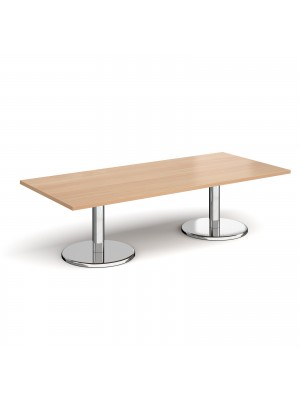 Pisa rectangular coffee table with round chrome bases 1800mm x 800mm - beech