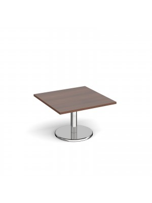 Pisa square coffee table with round chrome base 800mm - walnut