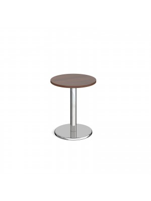 Pisa circular dining table with round chrome base 600mm - walnut