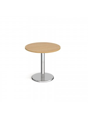 Pisa circular dining table with round chrome base 800mm - oak