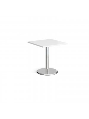 Pisa square dining table with round chrome base 700mm - white