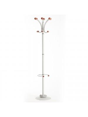 Coat & umbrella stand with 12 coat hooks and 4 umbrella hooks 1840mm high - silver