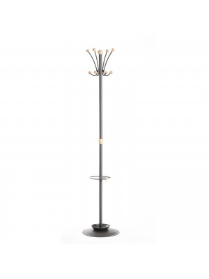 Coat & umbrella stand with 8 coat hooks and 8 umbrella hooks 1780mm high - black and cream