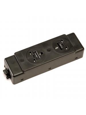 Under desk power bar 2 x UK sockets - black