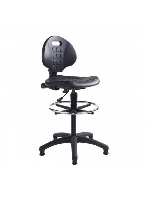 Prema 300 polyurethane industrial operator chair with contoured back support - black