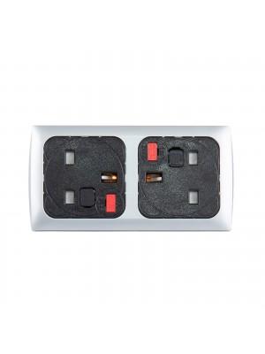 Proton panel mounted power module 2 x UK sockets - silver/black