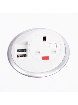 Pixel in-surface power module 1 x UK socket, 1 x TUF (A&C connectors) USB charger - white
