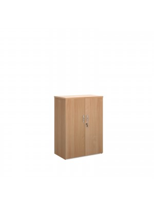 Universal double door cupboard 1090mm high with 2 shelves - beech